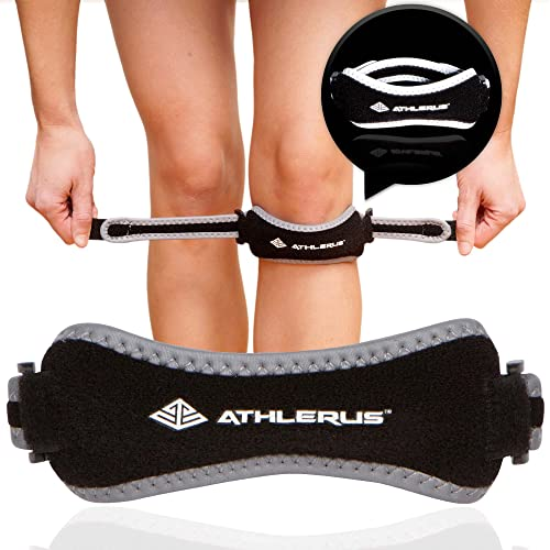4e82f28c4a Athlerus Reflective Patellar Tendon Support Strap/Knee Pain Relief for  Patellar Tendonitis, Runner's Knee