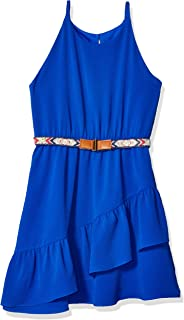 Amy Byer Girls' Big Sleeveless Dress with Assymetical Ruffle
