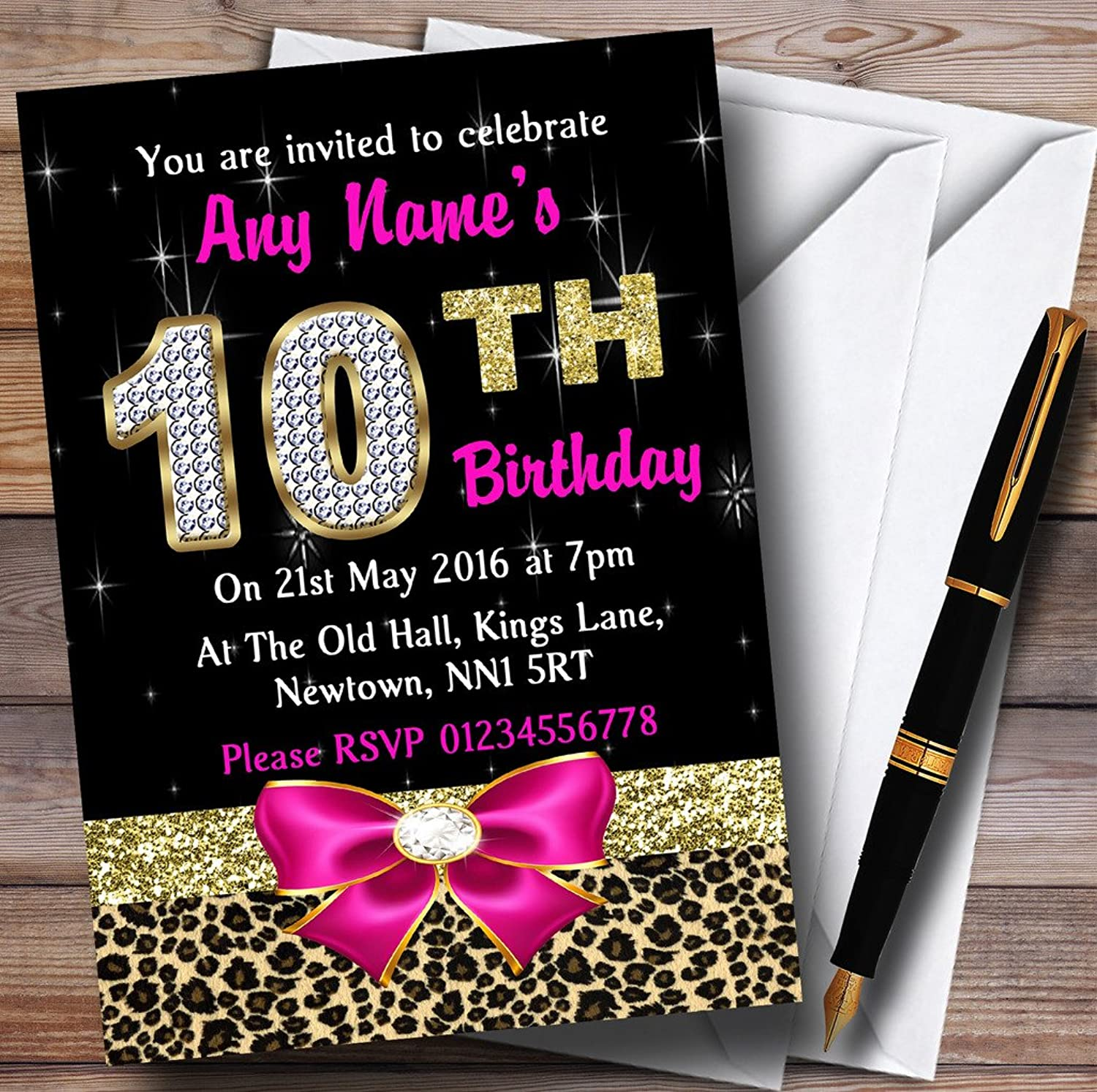 Pink Diamond And Leopard Print 10Th Birthday Party Personalised Invitations   Invites & Envelopes