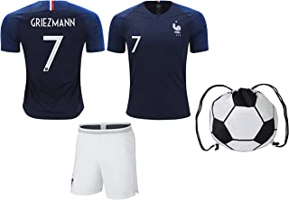France Griezmann #7/Pogba #6 Soccer Jersey & Shorts Kids Youth Sizes Football World Cup Premium Gift Kit Set