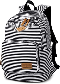 Striped Canvas Backpack Girls School Bag Women Casual Travel Daypack
