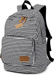 Ahyapiner Striped Canvas Backpack Shoulder Bag Women Casual Travel Daypack Black