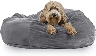 Furhaven Pet Dog Bed | Round Plush Faux Fur Refillable Ball Nest Cushion Pet Bed w/ Removable Cover for Dogs & Cats, Gray Mist, Jumbo