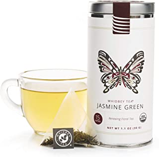Whidbey - Jasmine Green Tea Bags - Premium Certified Organic. Low Caffeine, Artisan Tisane, Restorative Her...