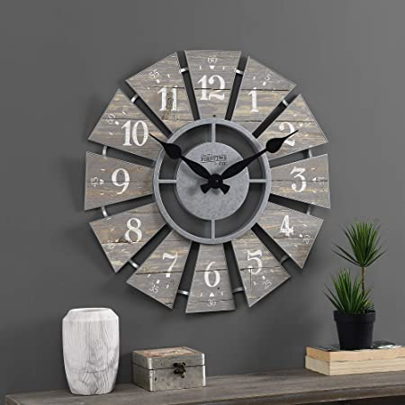 Amazon Com The Lakeside Collection Metal Windmill Wall Clock With Distressed Finish And Roman Numerals Home Kitchen