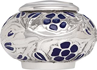 Funeral Urn by Liliane - Keepsake Cremation Urn for Human Ashes - Hand Made in Brass and Hand Engraved and Enamelled - (Silver Vines). Fits a small amount of cremated remains. (Keepsake)