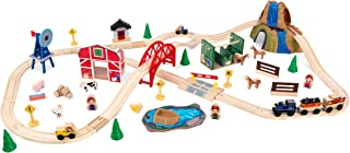 KidKraft Wooden Rural Farm Train Set with 75Piece, Children's Toy Vehicle Playset