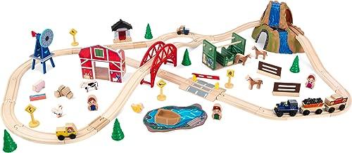 KidKraft Wooden Rural Farm Train Set with 75Piece, Children's Toy Vehicle Playset