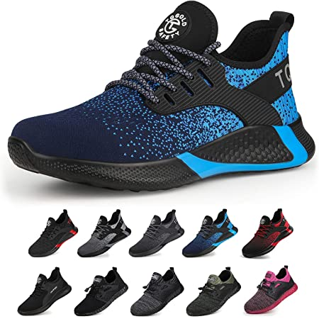 tqgold® Mens Womens Safety Shoes Work Steel Toe Caps Trainers Lightweight Breathable Industrial Shoes Blue 40