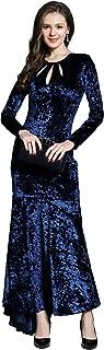 Long Sleeve Velvet Formal Dress Sexy Low Keyhole Split Evening Gowns