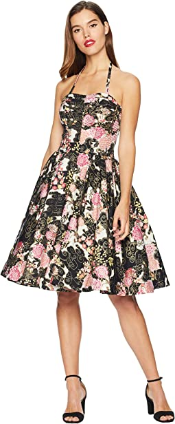 Alfred Shaheen Asian Blossoms Print Hawaiian Swing Dress