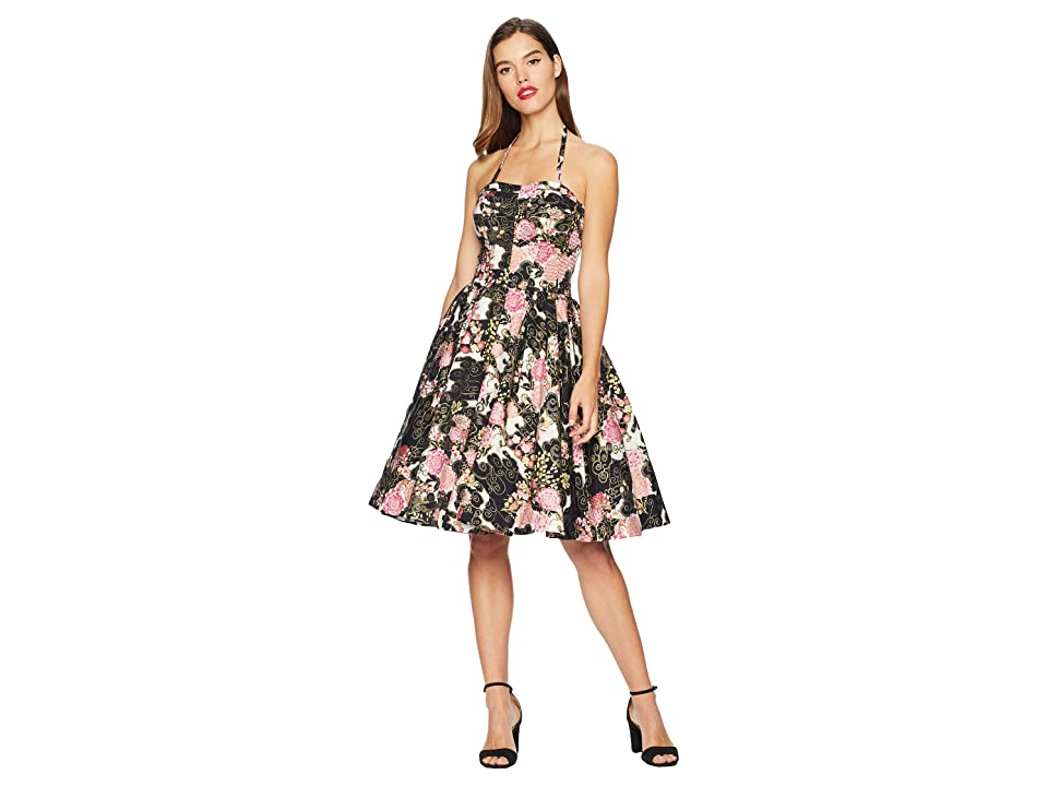 Unique Vintage Alfred Shaheen Asian Blossoms Print Hawaiian Swing Dress (Black/Pink Floral) Women