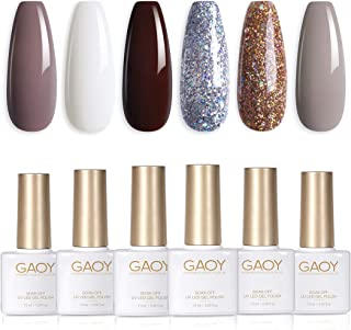 GAOY Glitter Gray Gel Nail Polish Set, 6 Colors White Glitter Platinum Gel Polish Kit UV LED Soak Off Nail Gel Varnish Nai...