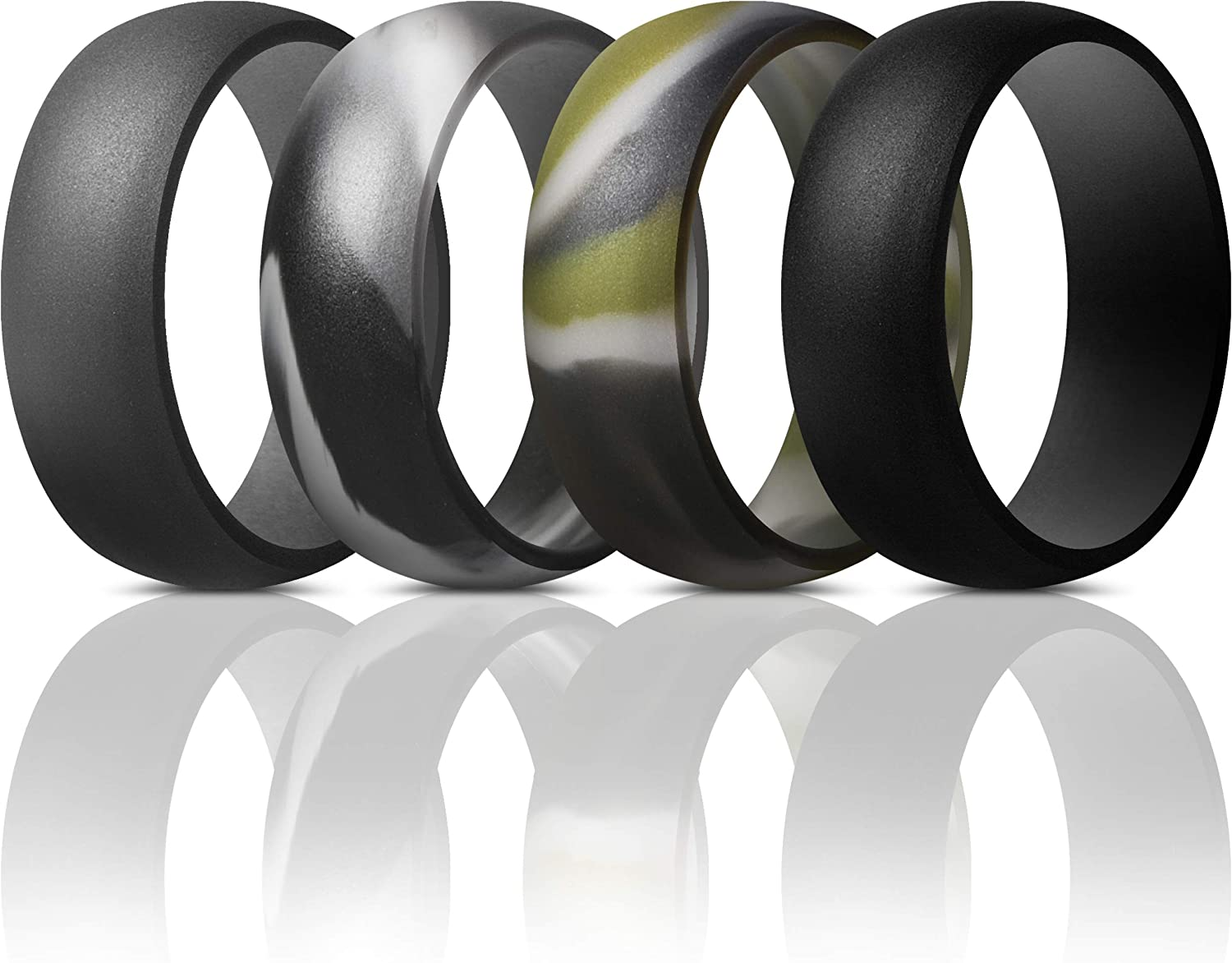 7 Rings // 4 Rings // 1 Ring ThunderFit Mens Silicone Rings Wedding Bands 8.7 mm Wide Classic /& Striped Style 2.5mm Thick