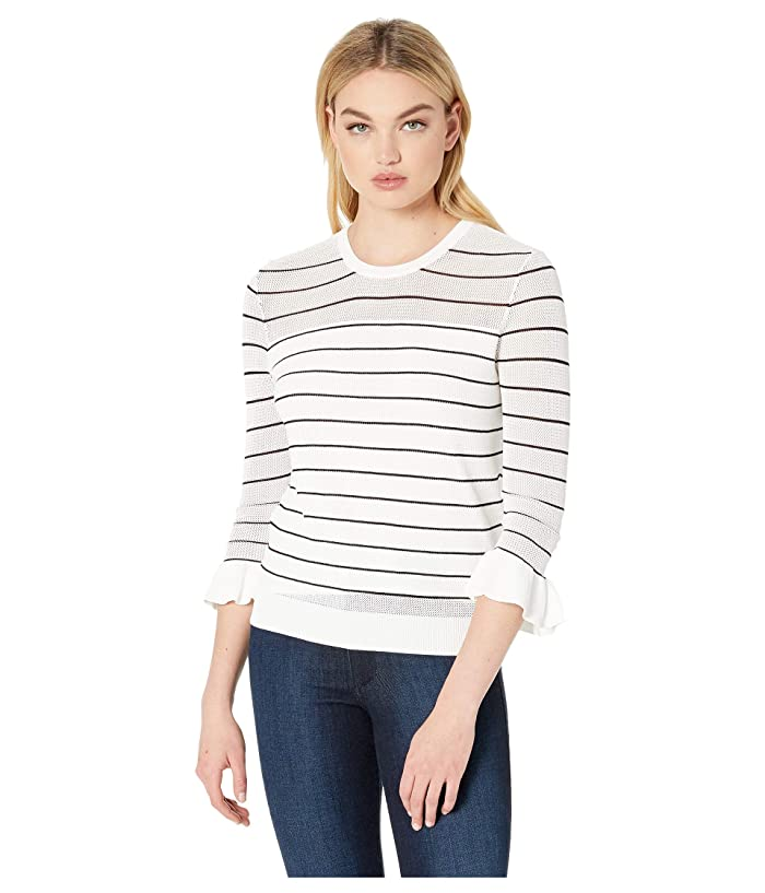 Cupcakes and Cashmere Liana Lightweight Striped Sweater (Ivory) Women
