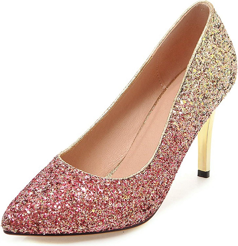 VIMISAOI Women's Fashion Pointed Toe Stiletto Glitter Upper Slip On Soft Upper Wedding Dress Pumps