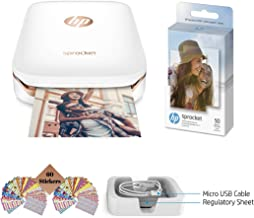 $114 » HP Sprocket Photo Printer, Print Social Media Photos on 2x3 Sticky-Backed Paper (White) + Photo Paper (60 Sheets) + USB Cable + 60 Decorative Stick-On Border Frames