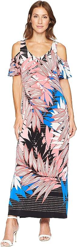 ITY V-Neck Shoulder Flutter Sleeve Maxi Dress