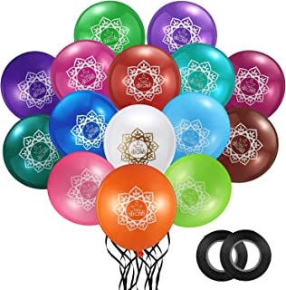 60 Pieces Diwali Latex Balloons Multicolored Round Balloons Decorative Festive Balloons with 2 Rolls Balloon Ribbons for D...
