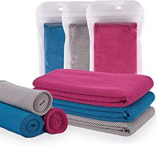 YPCLS Sports Towel 3 Pieces Set Cool Towel Cool Sensation Cool Towel Quick Dry Ice Towel Cool Towel Speed Cool Ice Towel Super Absorbent Lightweight Outdoor Yoga Gym Application (Gray + Blue + Pink)