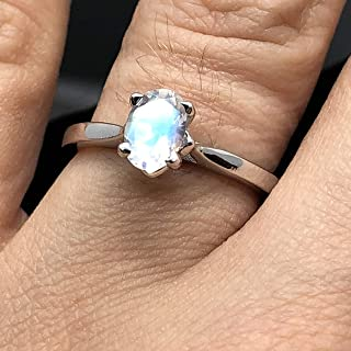Moonstone Solitaire - Sterling Silver Solid 14K White Rose Yellow Gold Moonstone Engagement Ring - 4 Prong Oval Dainty Rainbow Moonstone Bridal Ring