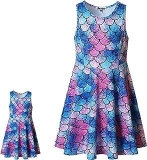 """Jxstar Matching Girls & Doll Flower Dresses Sleeveless Summer 18"""" Dolls Clothes"""