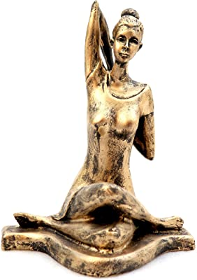 Craft Junction Handcrafted Antique Finish Lady in Yoga Position Decorative Showpiece - 22 cm (Polyresin, Gold)