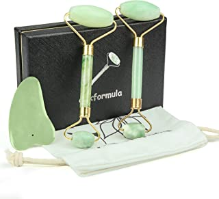 3 PCS Jade Roller for Face Gua Sha Massager Tool Set- Massage Body Rollers Face Slimmer Eye Neck Massage Stones- Skin Care Facial Tools, Massage Roller Easy Scraping Slimming Guasha Real Natural Kit