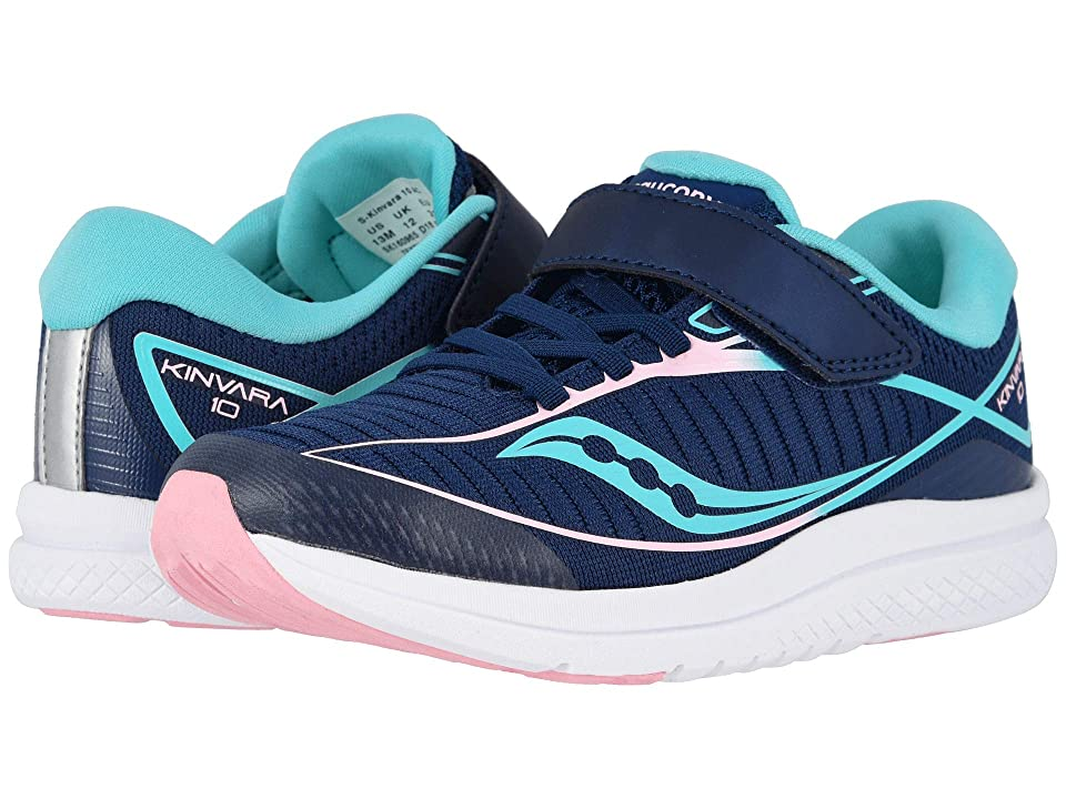 Saucony Kids Kinvara 10 A/C (Little Kid) (Navy/Turquoise) Girls Shoes
