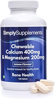 Calcio 400mg y Magnesio 200mg Masticable - ¡Bote para 2 meses! - Apto para veganos - 120 Comprimidos - SimplySupplements