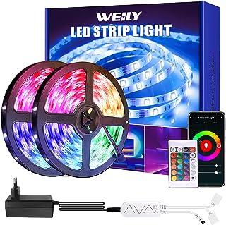 LED Strip 15m, WEILY WiFi RGB LED ljusremsor med fjärrkontroll, färgväxling SMD 5050 LED-lampor synkronisering med musik, ...