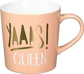 About Face Designs 187638 Yaas Queen Salmon 18 Ounce Decorative Boxed Ceramic Coffee Mug, 18 oz, Orange