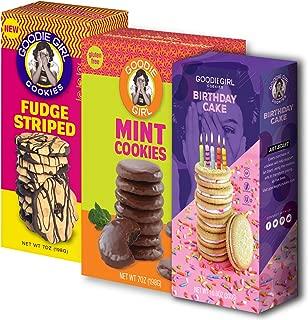 Goodie Girl Cookies Gluten Free Cookies Birthday Cake, Mint Cookies & Fudge Striped Variety Pack Peanut Free Cookies
