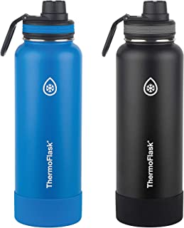 Thermoflask Stainless Steel 40-Ounce Water Bottle with Spout Lid and Bumper (Blue/Black),  2-Count