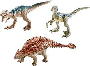 Jurassic World Mini Dino Baryonyx, Ankylosaurus, Metallic Blue Figures, 3 Pack