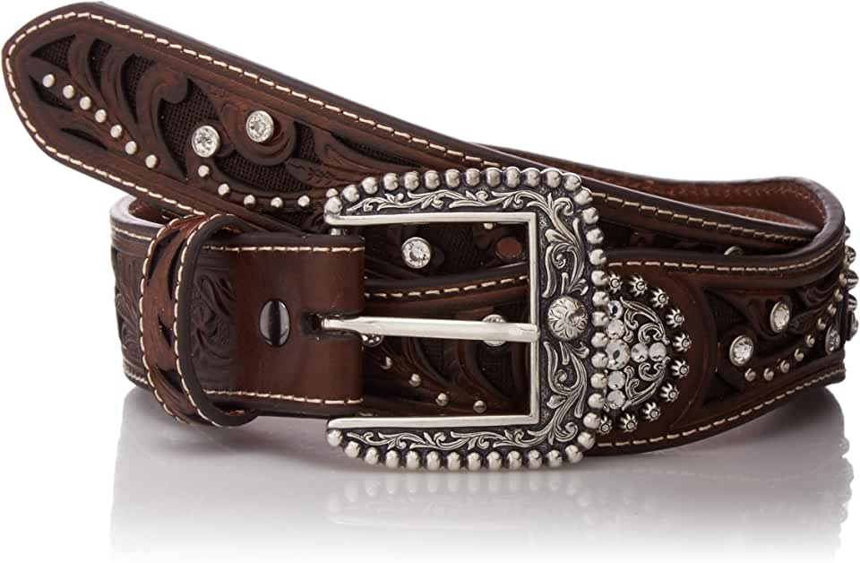 Ariat Women's Filagree Scalop Circle Concho Belt, brown