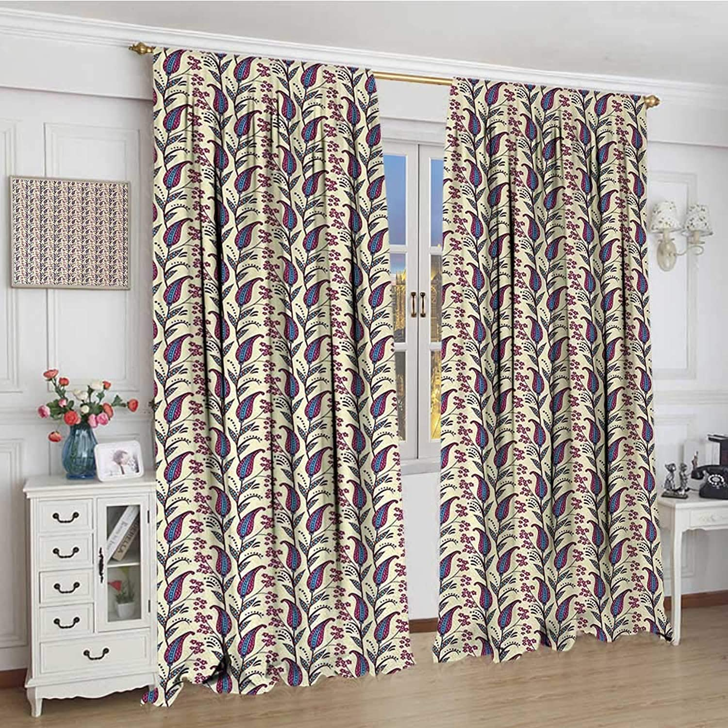 Smallbeefly Paisley Patterned Drape for Glass Door Artistic and Ornamental Flowers Blossoming on Leafy Branches with Little Daisies Decor Curtains by 108 x108  Multicolor