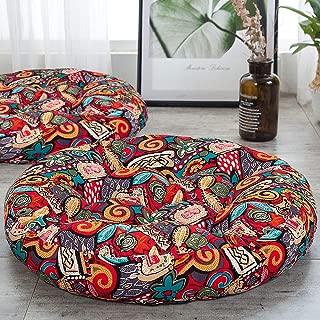 HIGOGOGO Boho Floor Pillow, Mandala Flower Meditation Pillow Round Seat Cushion Yoga Cushion India Floor Pad for Living Room Bedroom Balcony Garden Party Decoration, 22 Inch, Flower