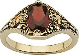 14K Yellow Gold Plated Antiqued Oval Cut Genuine Red Garnet Vintage Style Ring