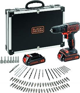 BLACK+DECKER BDCDC18BAFC-QW Perceuse visseuse sans fil - Chargeur inclus - 80 accessoires - Livrée en malette, 18V, Coffre...