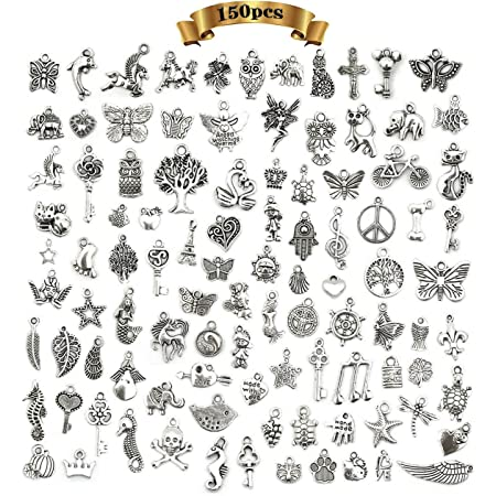 150 piezas Abalorios de Plata Dijes Colgantes de Aleación,Colgantes tibetanos del encanto de plata retro al por mayor mezclados para Bricolaje Llaveros Pulseras Collares Pendientes
