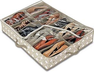 Domopak Living 8001410074294 Étui Chaussures 12 Compartiments Elle, Plastique, Blanc/Beige, 50 x 75 x 15 cm