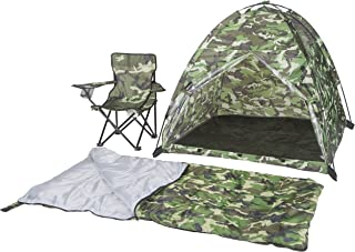 Pacific Play Tents 23335 Kids Green Camo Dome Tent Set with Sleeping Bag and Chair