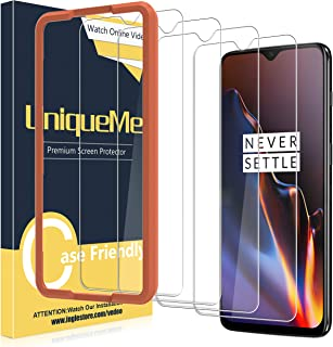 [4 Pack] UniqueMe for Oneplus 6T Screen Protector,[Alignment Frame Easy Installation] Tempered Glass Screen Protector HD Clear Anti-Scratch with Lifetime Replacement Warranty