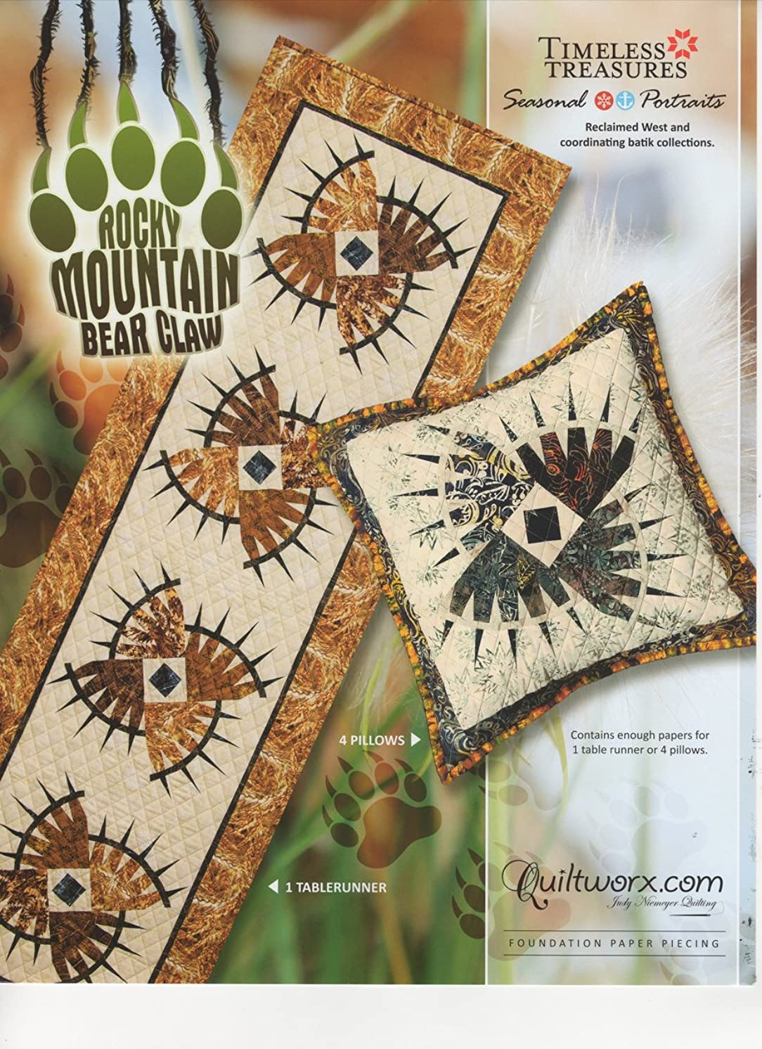 """Rocky Mountain Bear Claw Table Runner and Pillows - Foundation Paper Piecing Pattern by Judy Niemeyer – 72"""" x 21"""" Table Runner –"""