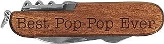Pop-Pop Knife Best Pop-Pop Ever Laser Engraved Dark Wood 6 Function Multitool Pocket Knife