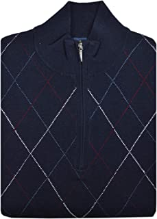 Brooks Brothers Mens 136079 Wool Blend Ribbed Half Zip Sweater Navy Blue Argyle