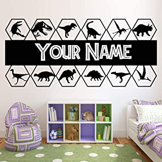 Dinosaur Custom Name Wall Decals - Dinosaur Personalized Any Name Vinyl Stickers Decor for Boys Room Bedroom - Dinosaur Jurassic Park World Art Poster Pictures Decorations DN001 (DN005)
