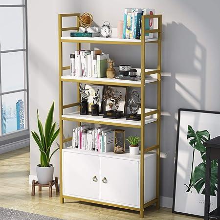Tribesigns Estantería con puerta, estantería de 4 niveles con gabinete de almacenamiento, estante decorativo moderno blanco, blanco y dorado, 80 x 30 ...