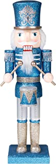 Clever Creations Traditional Soldier Drummer Nutcracker Blue and Silver Glitter | Perfect Addition to Any Collection | Festive Holiday Decor | 100% Wood | 14